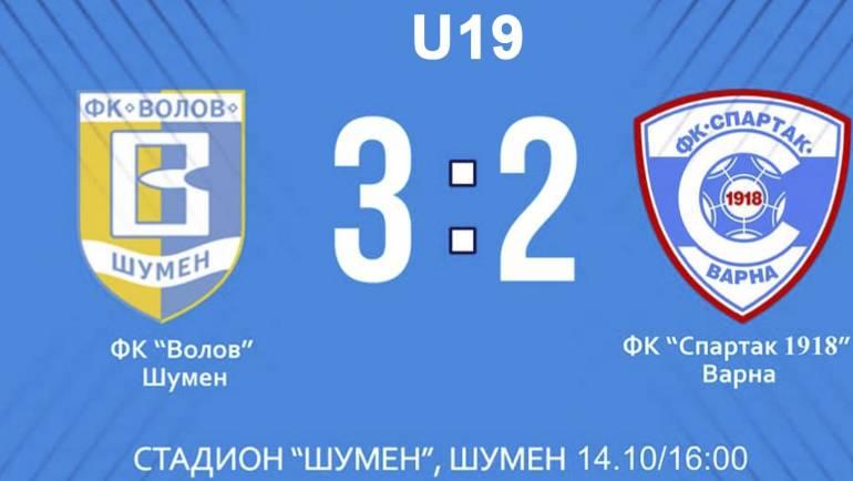 """Резултат: U19 ФК """"Волов Шумен"""" и ФК """"Спартак 1918"""