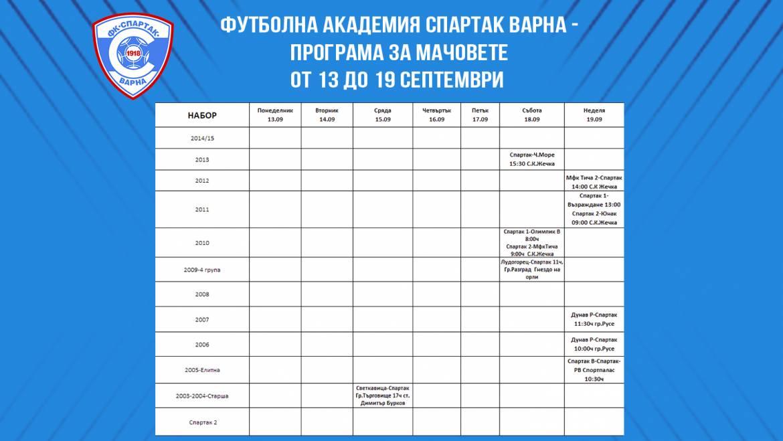 Програма за мачовете от 13 до 19 септември на Футболна Академия Спартак Варна