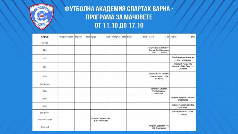 Програма за мачовете от 11.10 до 17.10 на Футболна Академия Спартак Варна